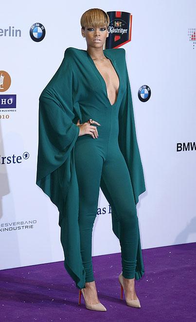 Rihanna Wears a Teal Wingsuit Snuggie (PHOTOS)