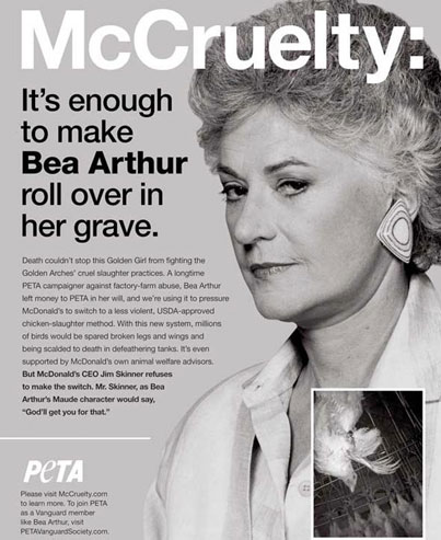 Bea Arthur Saves Animals With PETA From Beyond The Grave