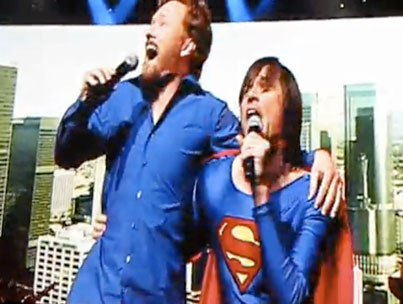 Jim Carrey Joins Conan O'Brien Onstage in a Superman Costume, Because Why Shouldn't He? (VIDEO)