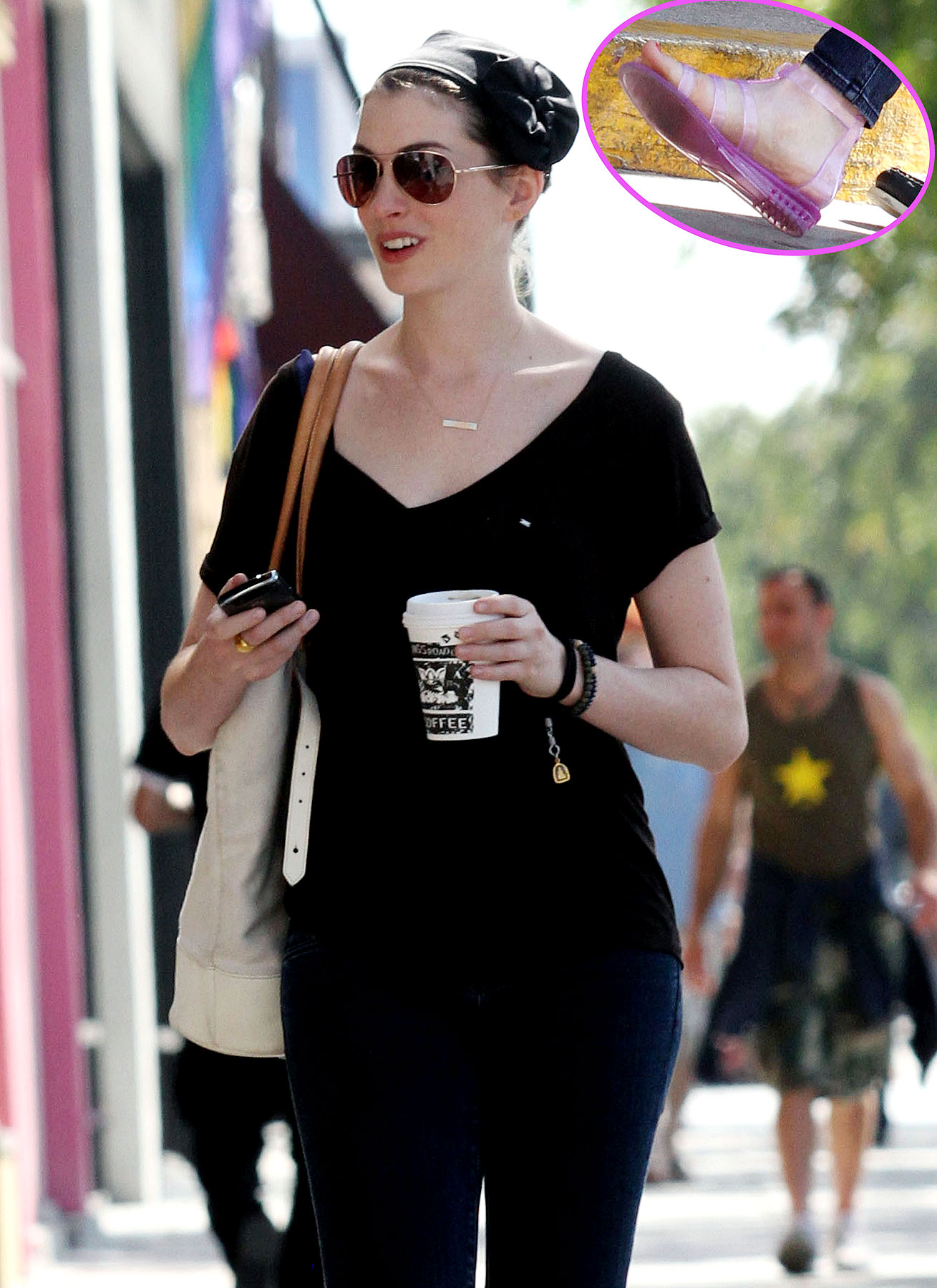 "Anne Hathaway Says, ""Gel, Yeah!"" to Retro Sandals"