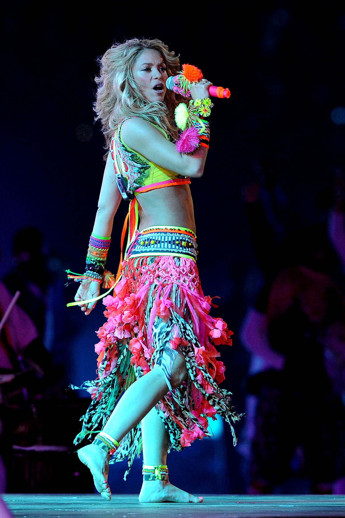 Shakira Wears Neon Tribal Uniform At World Cup (PHOTOS)