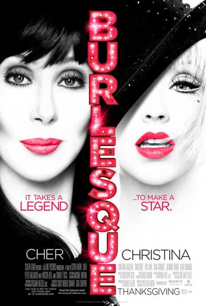 Christina Aguilera and Cher Pretty Up the 'Burlesque' Poster