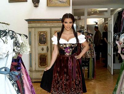 Kim Kardashian Dons Dirndl in Germany