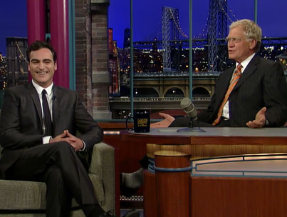 Joaquin Phoenix Returns to 'Letterman' (VIDEO)