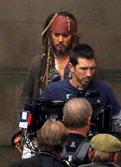 Johnny Depp on the 'Pirates Of The Caribbean 4′ Set (PHOTOS)