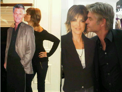 Lisa Rinna, Harry Hamlin Get Kissy With Cardboard