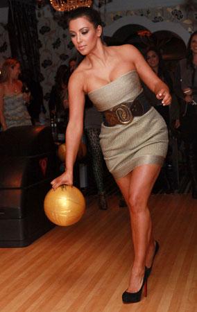 Kim Kardashian Bowls in Heels (PHOTOS)
