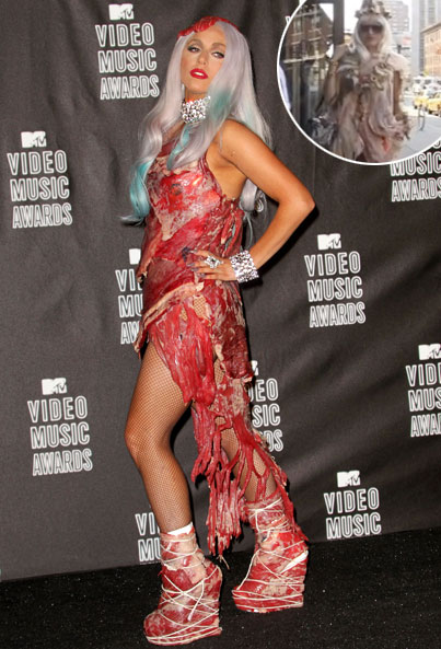 Lady Gaga Inspires $100,000 Meat Costume (VIDEO)