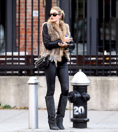 Love the Look: Rosie Huntington-Whiteley's Furry Vest