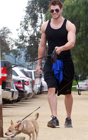 Kellan Lutz Takes His Dogs for a Weekend Walk