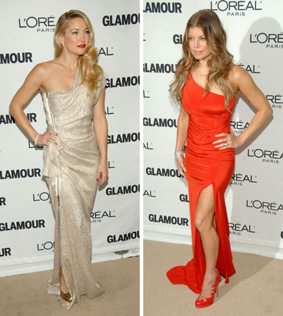 One Shoulder Dress-Off: Fergie vs. Kate Hudson