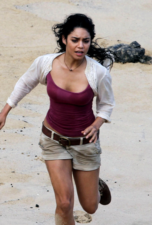 Vanessa Hudgens Gets Dirty on 'Journey 2′ Set (PHOTOS)