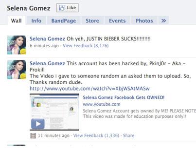 Selena Gomez's Facebook, Twitter Hacked
