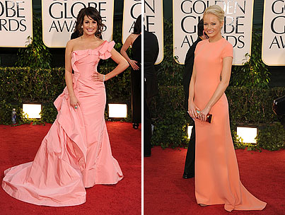 lea michelle and emma stone on the golden globes red carpet